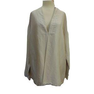 Eileen Fisher beige thin silk jacket long sleeve